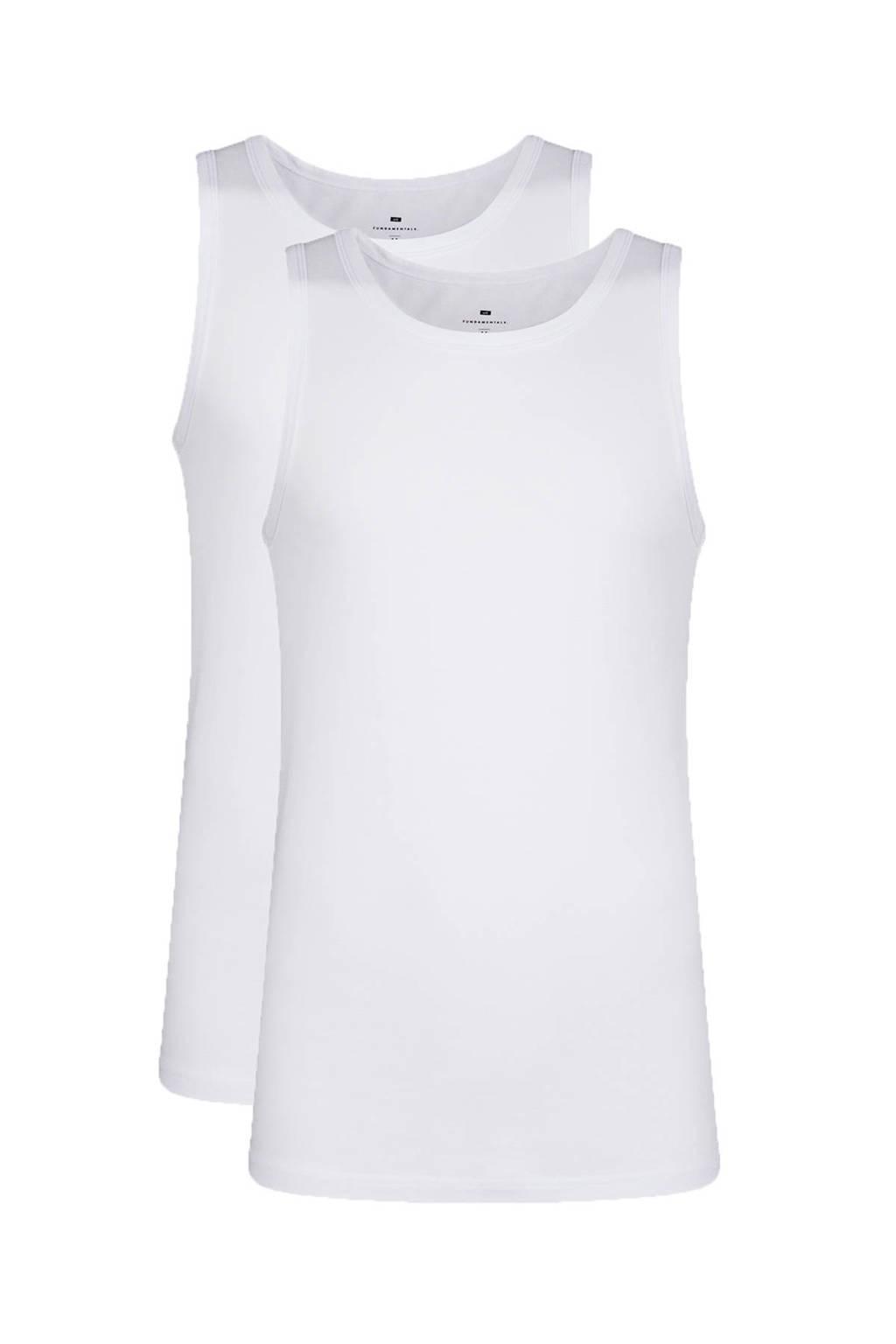 WE Fashion Fundamental hemd wit (set van 2), Wit