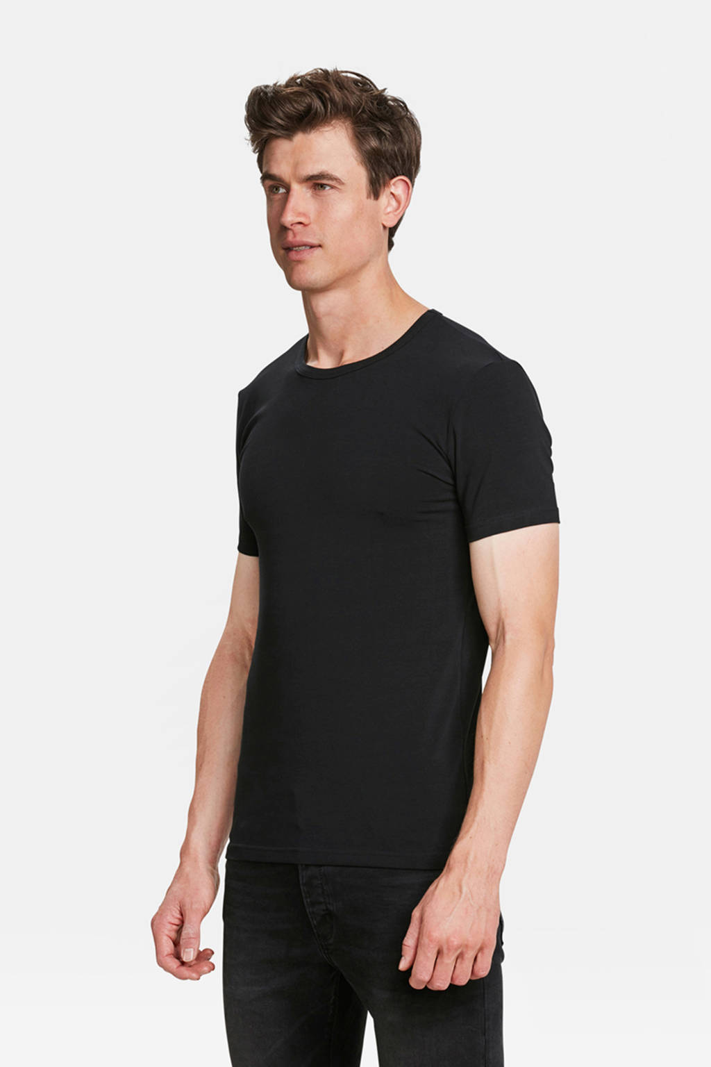 WE Fashion Fundamentals T-shirt zwart - set van 2, Zwart