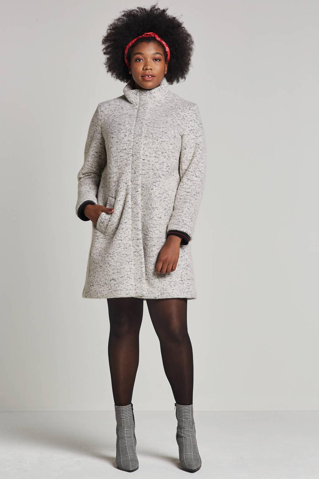 Miss Etam Plus jas met wol grijs, Grijs