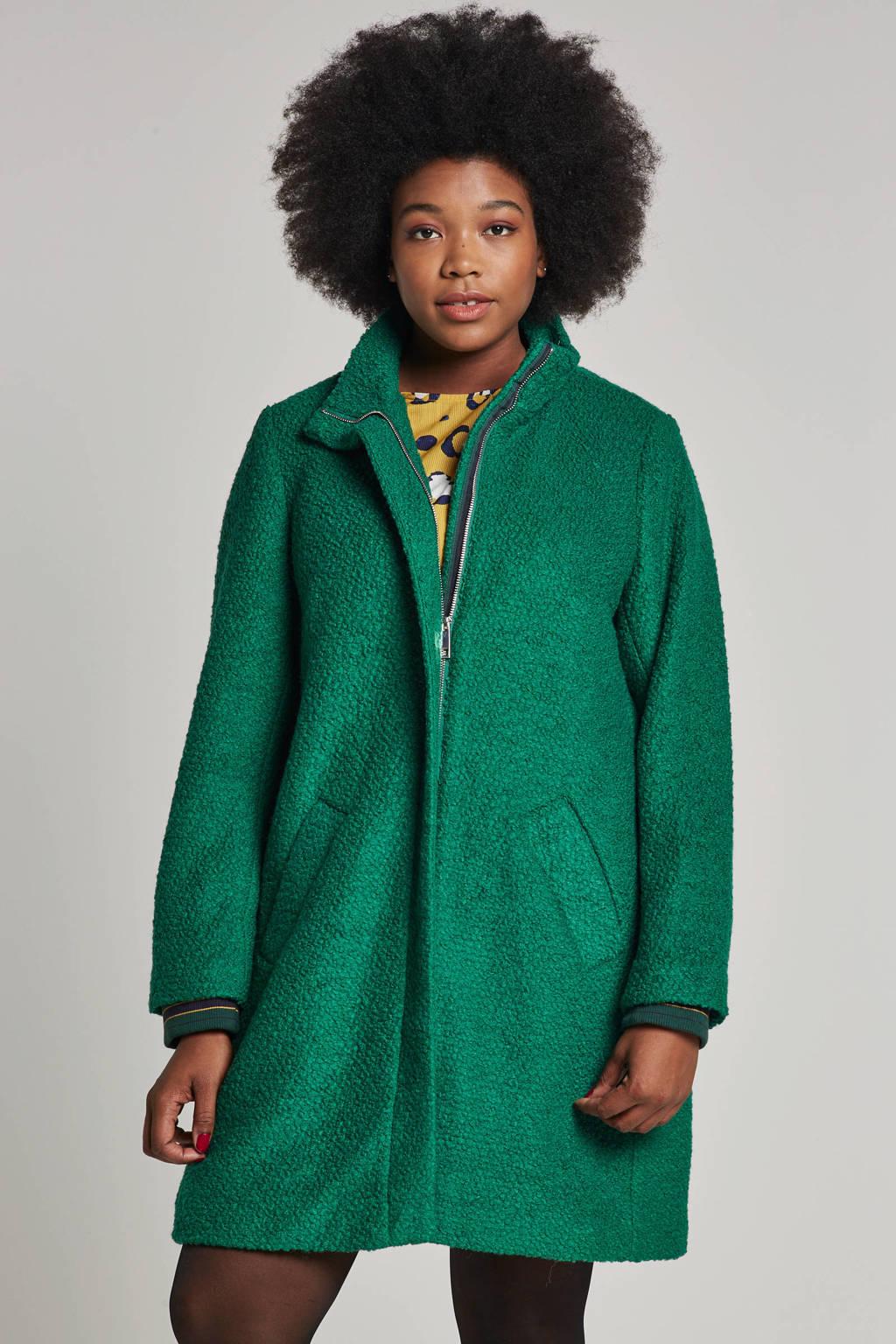 Miss Etam Plus jas met wol groen, Groen