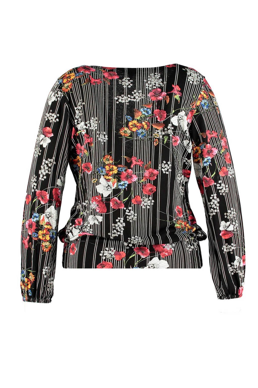 MS Mode gebloemde overslag top, Zwart/wit/rood