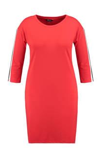 MS Mode jurk met zijstreep rood
