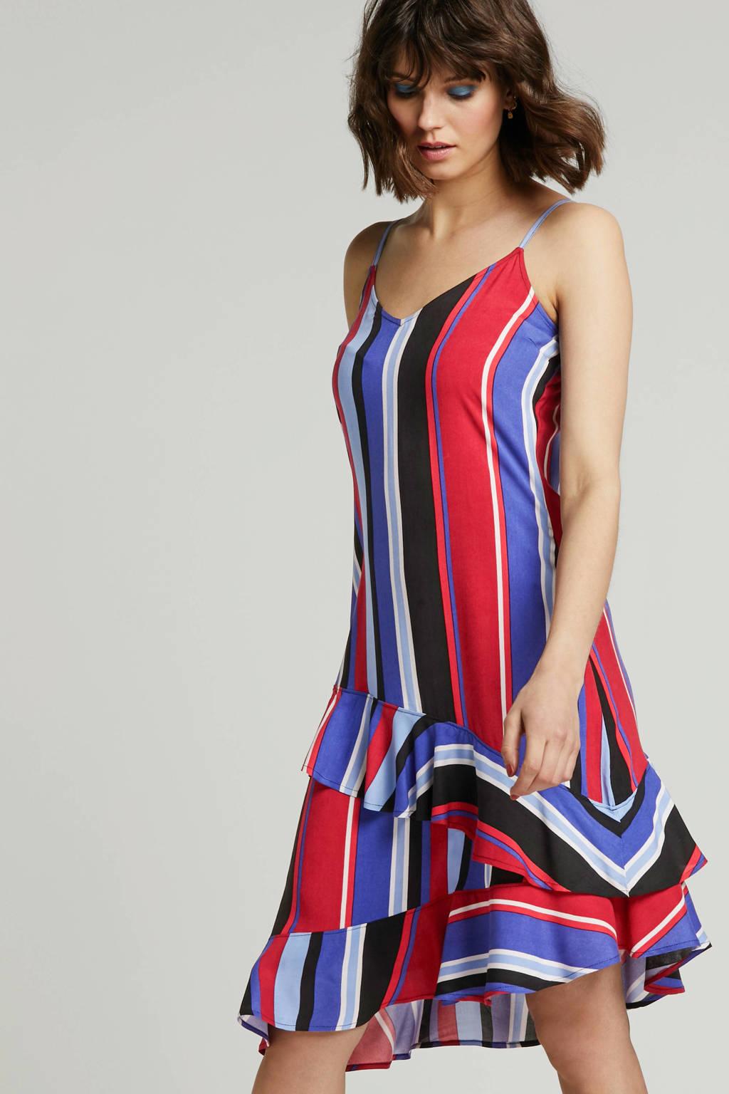 whkmp's beachwave geweven viscose jurk met streepprint, Blauw/rood/zwart