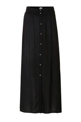enkellange crêpe rok in doorknoop-look