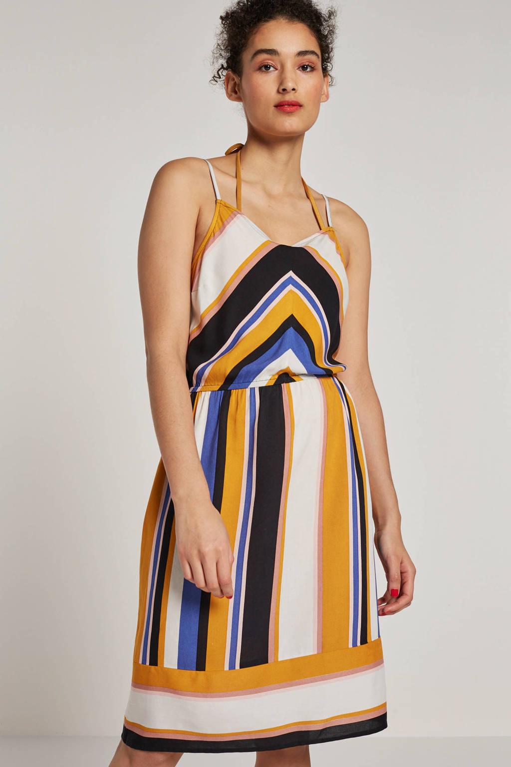 whkmp's beachwave geweven viscose jurk met streepprint, Geel/ecru/zwart/blauw
