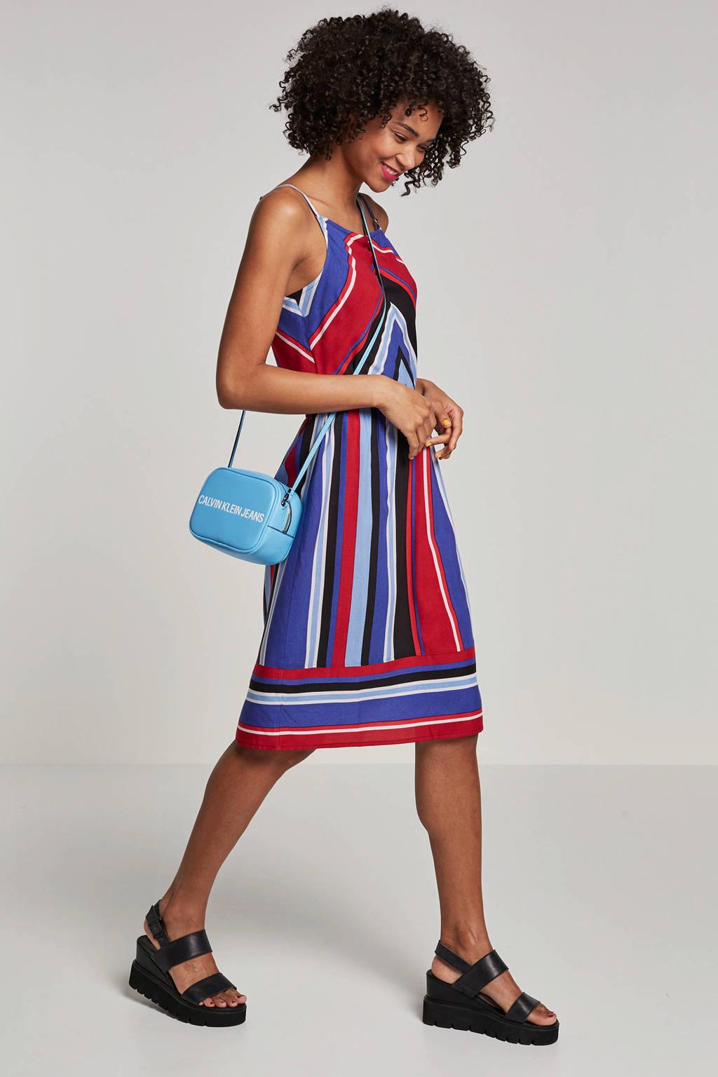 whkmp's beachwave geweven viscose jurk met streepprint, Blauw/rood/ecru