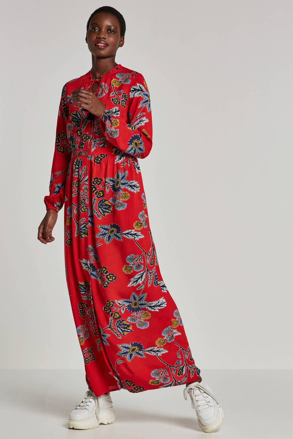 whkmp's beachwave maxi jurk, Rood/donkerblauw/geel