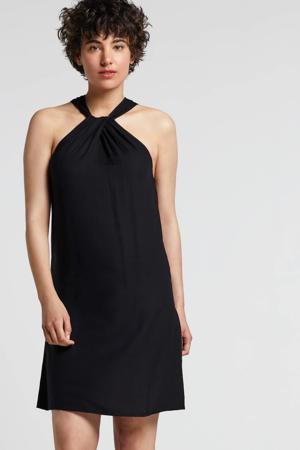 geweven viscose halter A-lijn jurk