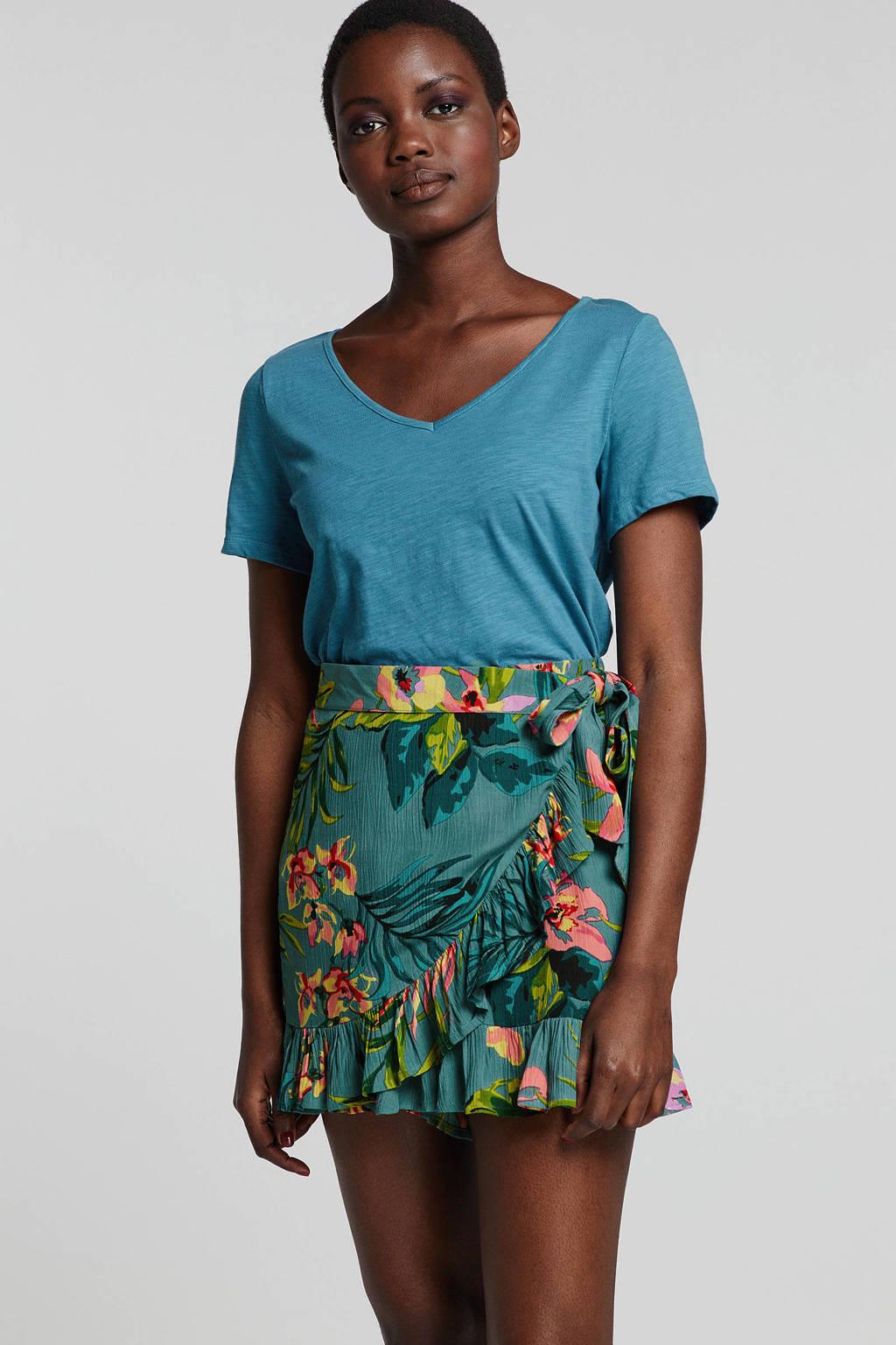 whkmp's beachwave gebloemde regular fit short turquoise/groen, Turquoise/Groen