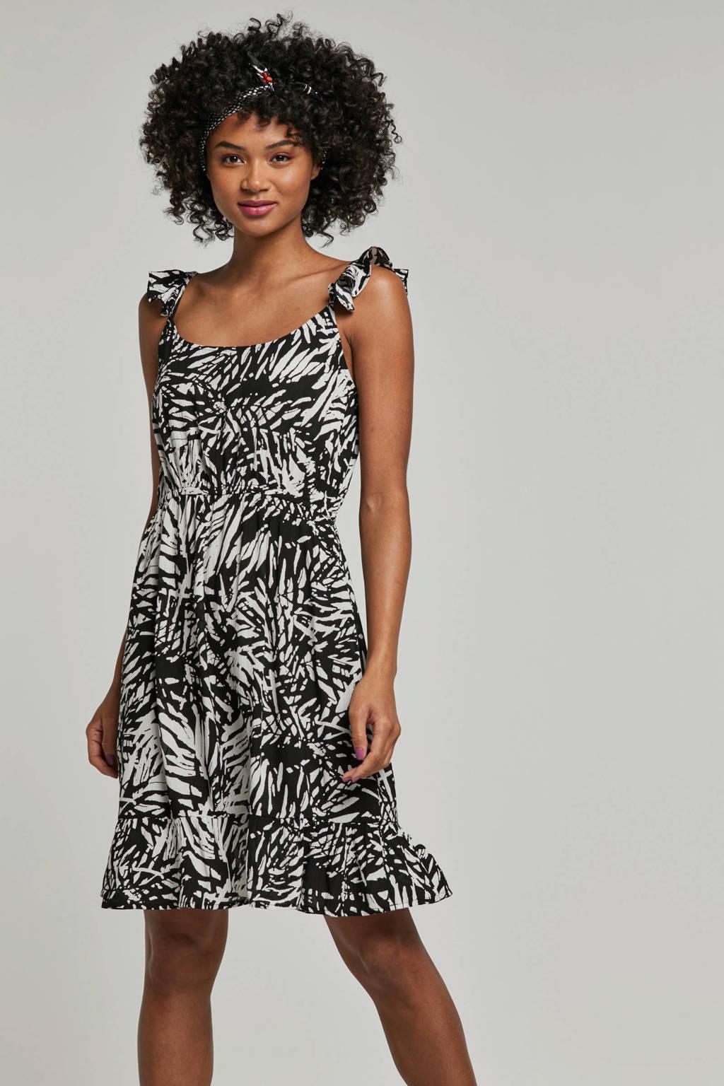 whkmp's beachwave crinkle jurk met print, Zwart/wit