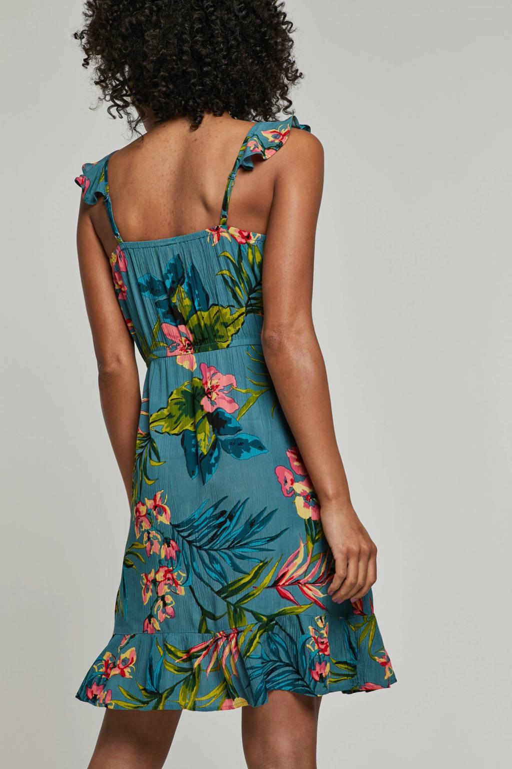 ecf353b40f4cf1 whkmp's beachwave crinkle jurk met bloemenprint, Turquoise/Groen/Roze