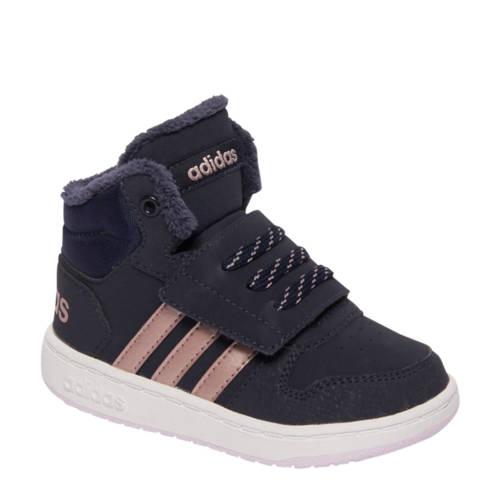 Hoops Mid 2.0 leren sneakers blauw