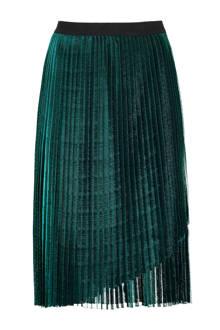 halflange plissérok groen