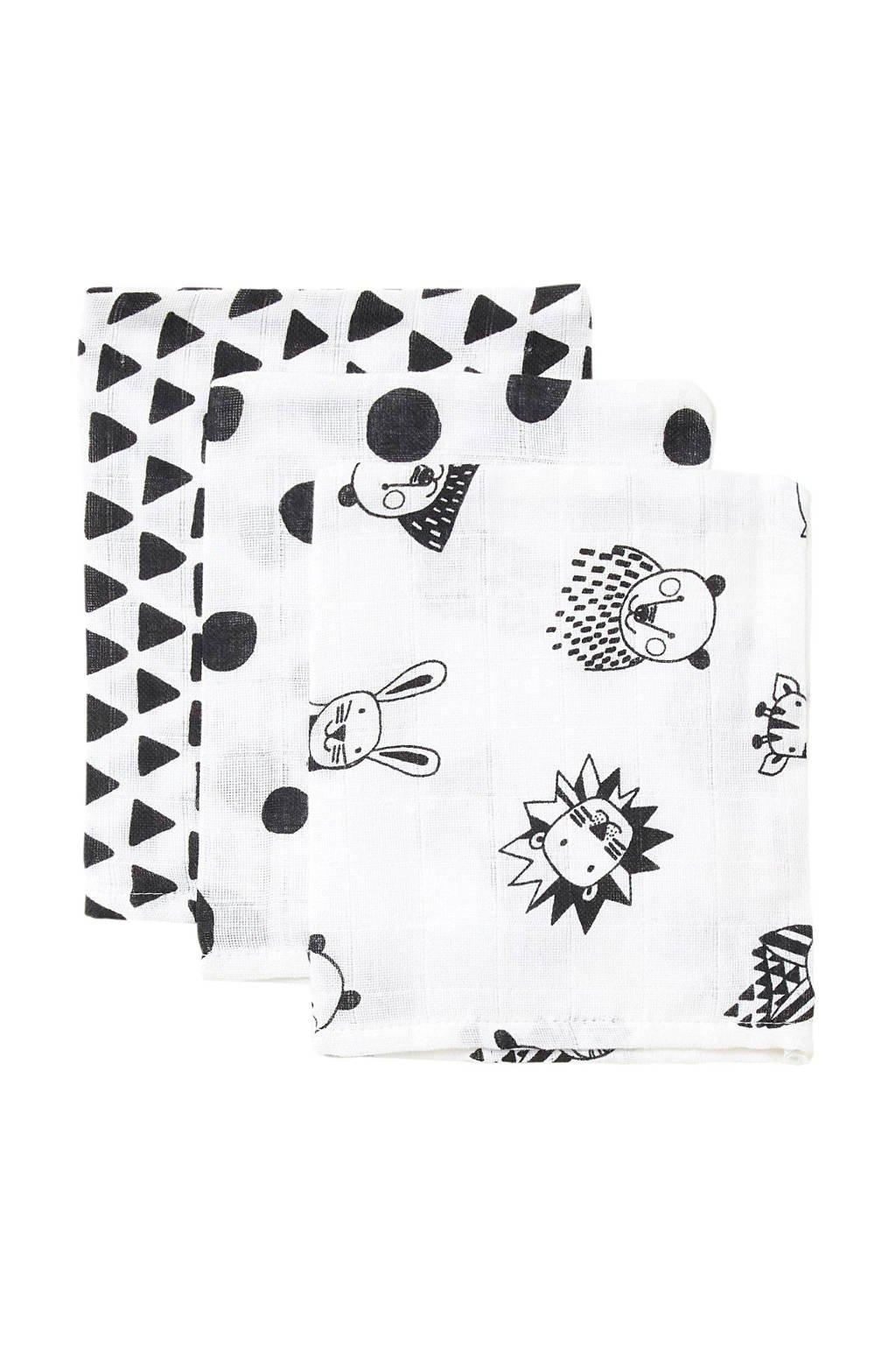 wehkamp beasty hydrofiele washandjes - set van 3, Zwart/wit