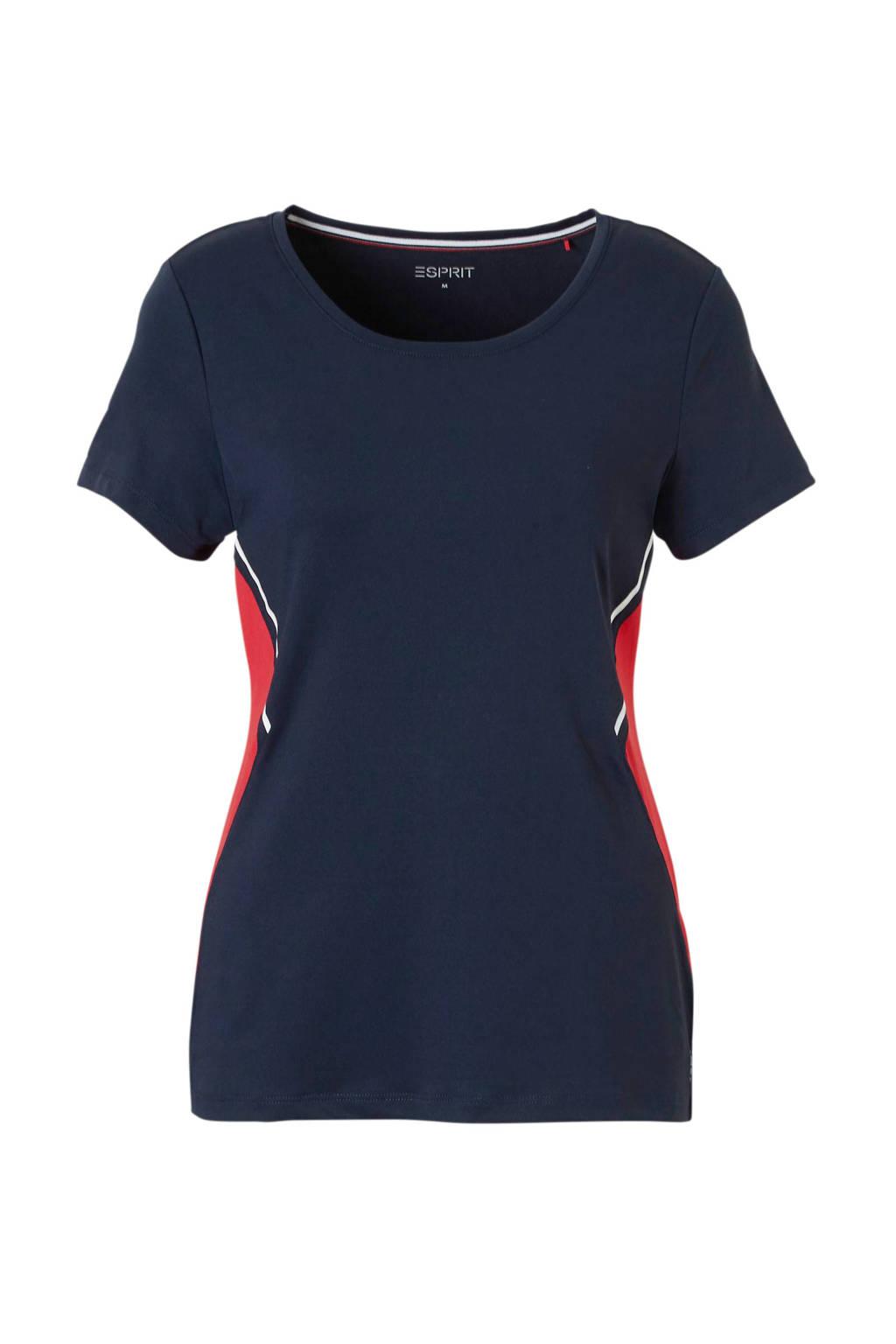 ESPRIT Women Sports T-shirt blauw, Blauw/rood