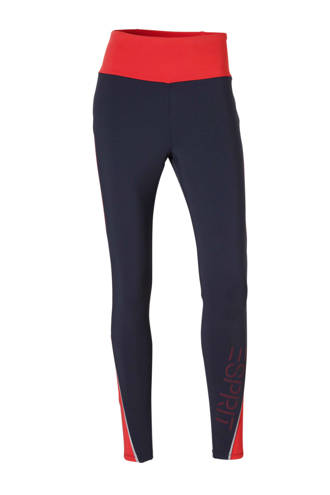 Women Sports 7/8 sportlegging donkerblauw/rood