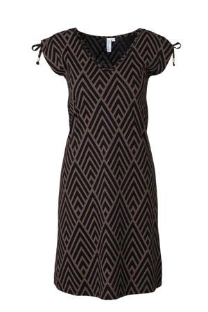 jersey jurk met grafische print zwart/bruin