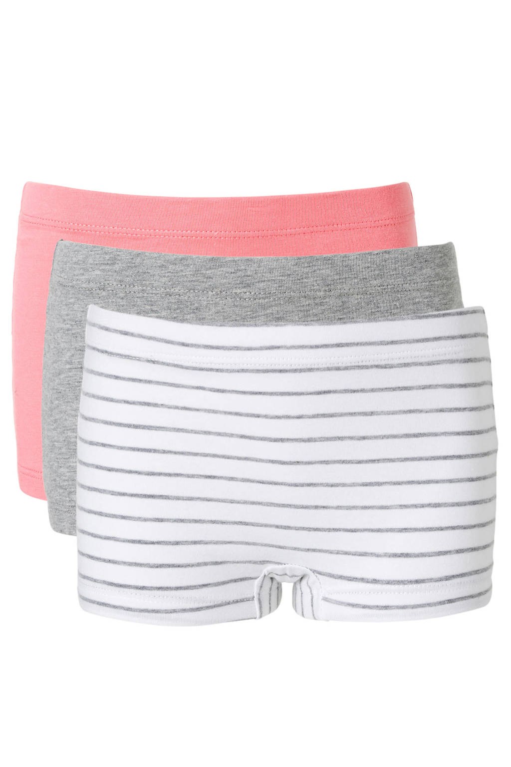 name it MINI short - set van 3, wit/grijs/roze