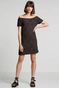 whkmp's beachwave jersey jurk met recycled polyester (Waste2Wear), Zwart/bruin