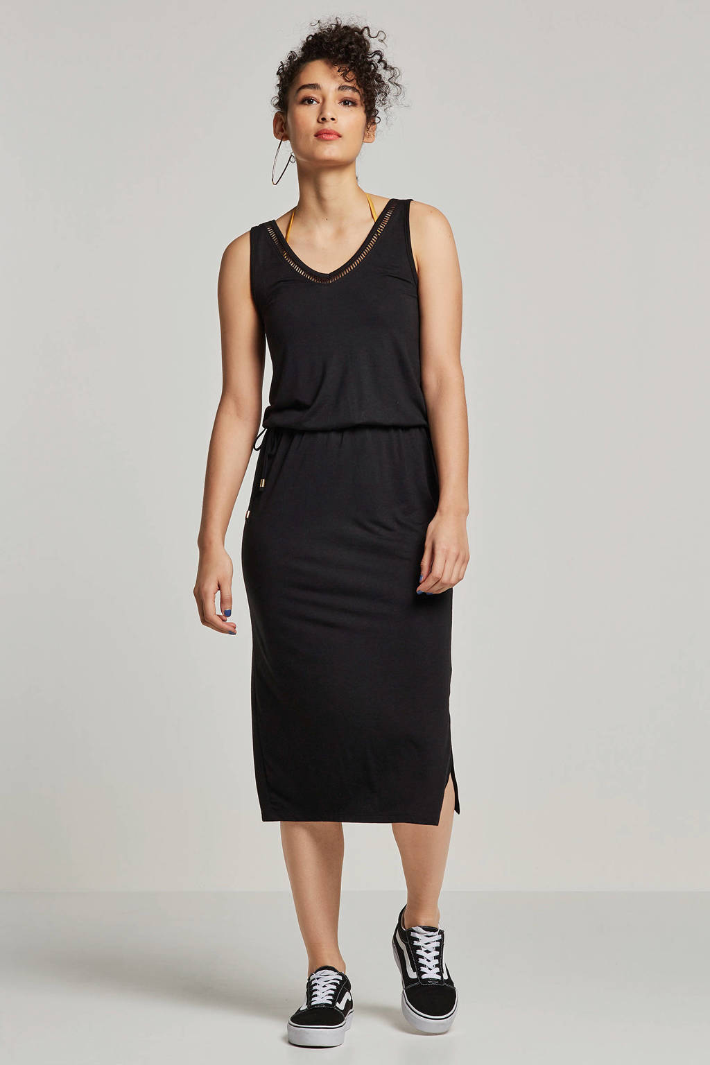 whkmp's beachwave jersey jurk met gerecycled polyester zwart, Zwart
