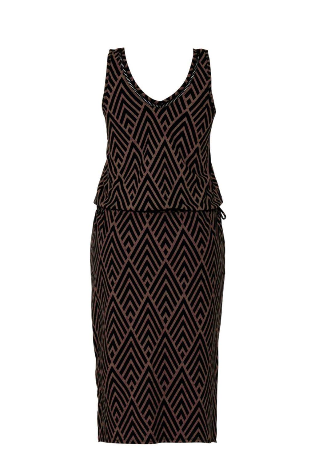 whkmp's beachwave jersey jurk met kant zwart/bruin, Zwart/bruin