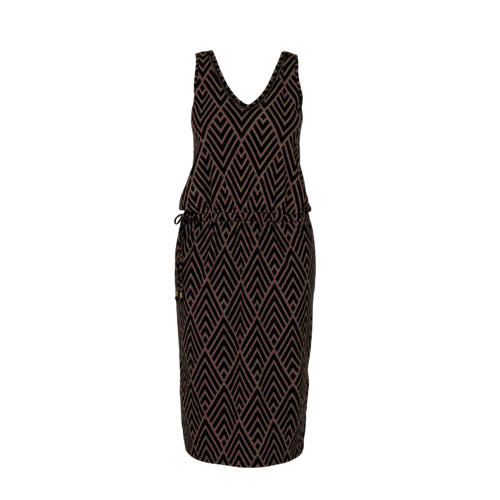 whkmp's beachwave jersey jurk met gerecycled polyester zwart bruin