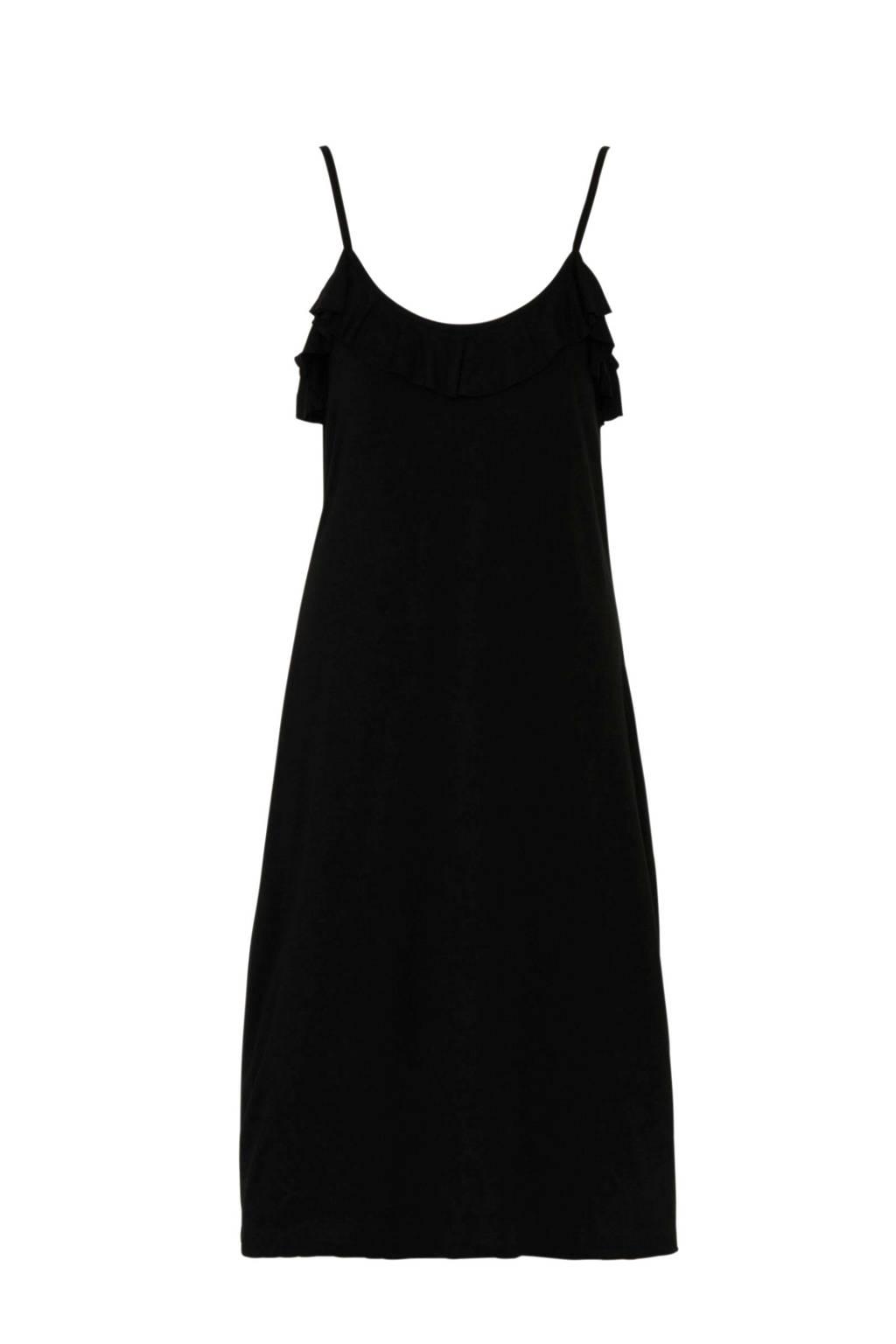 whkmp's beachwave jersey strandjurk met volant zwart, Zwart