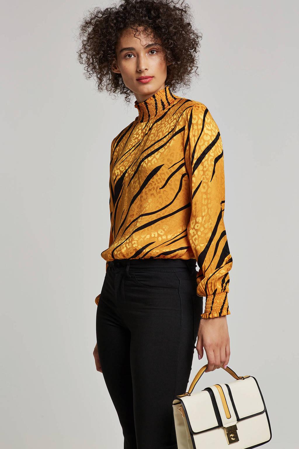 ONLY top met tijger- en panterprint, Geel