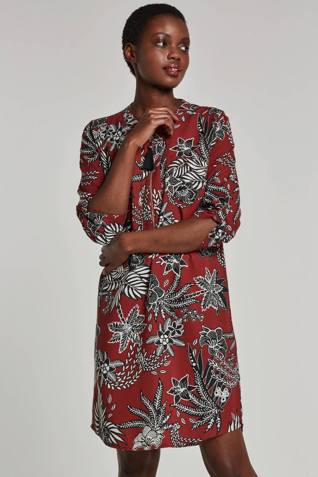 whkmp's beachwave jurk met bloemprint, Brique/zwart/wit
