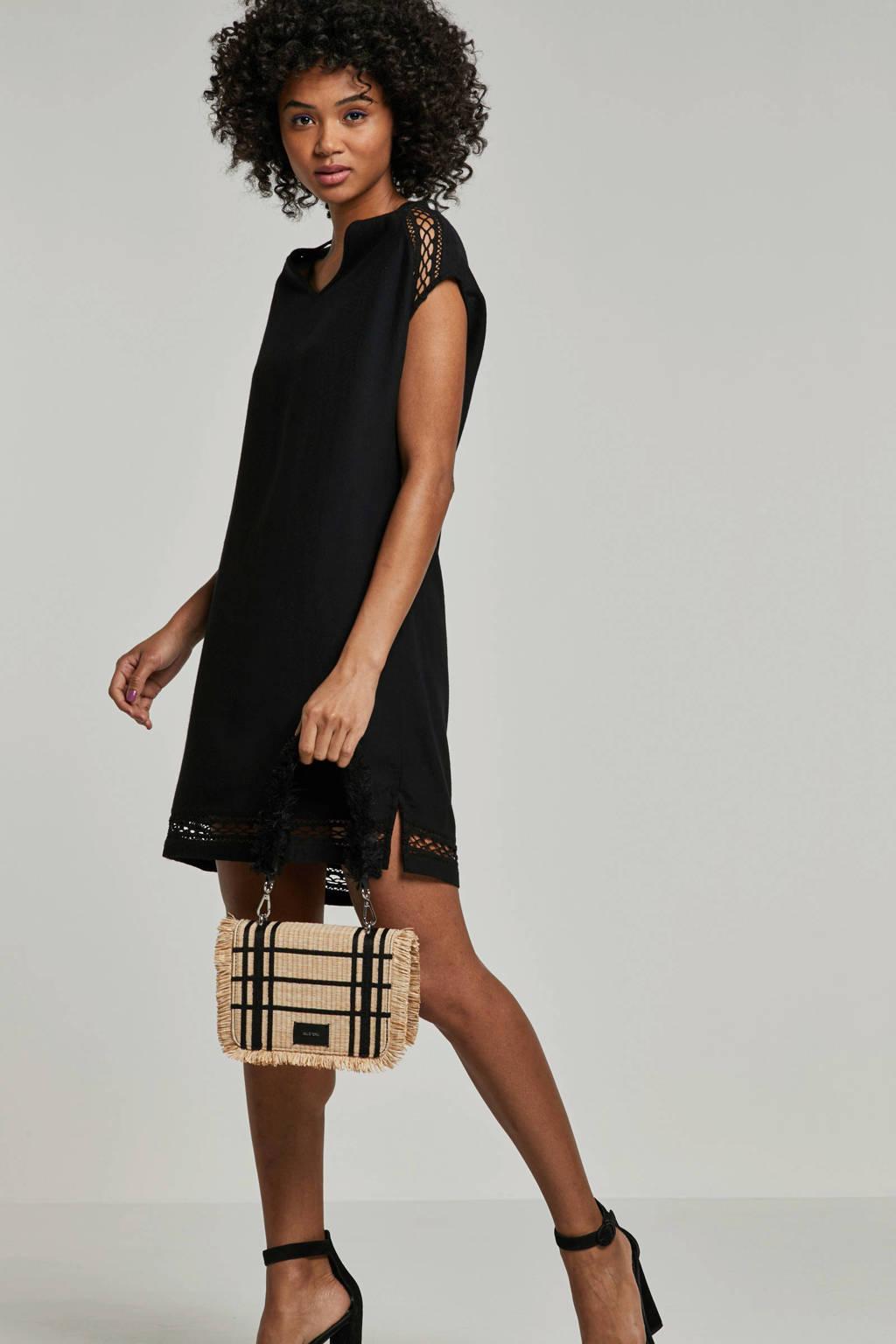 whkmp's beachwave geweven viscose jurk met kant, Zwart