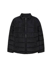 gewatteerde jas met stippen zwart