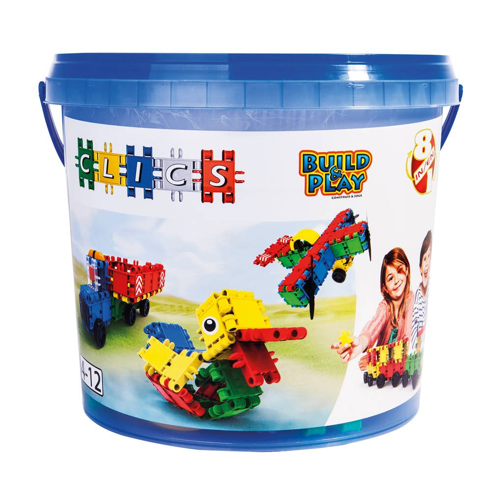 Clics  Build & Play bucket 8-in-1 160 stuks