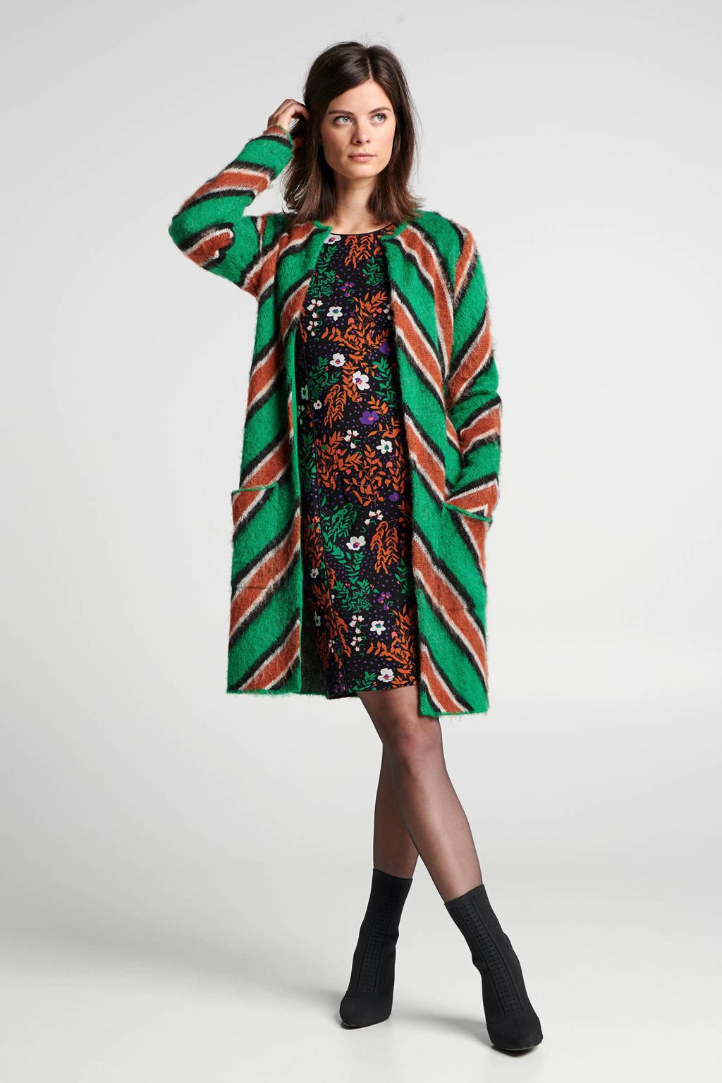 Steps gebloemde jurk met contrastbies zwart/oranje/groen, Zwart/oranje/groen