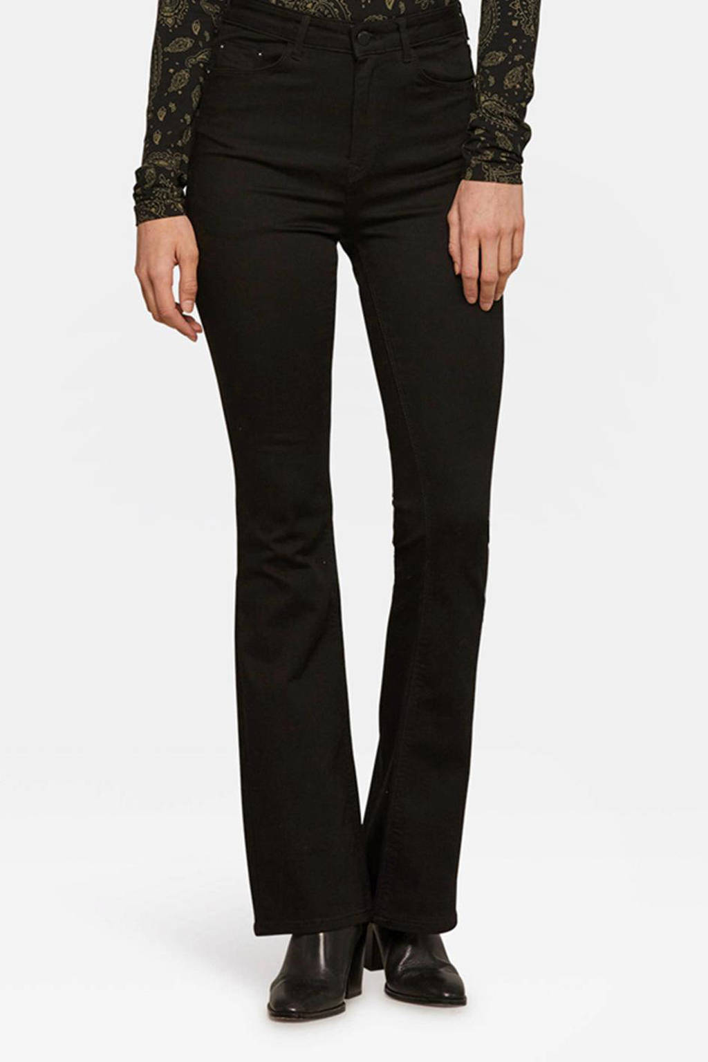 WE Fashion Blue Ridge flared stretch jeans zwart, Zwart