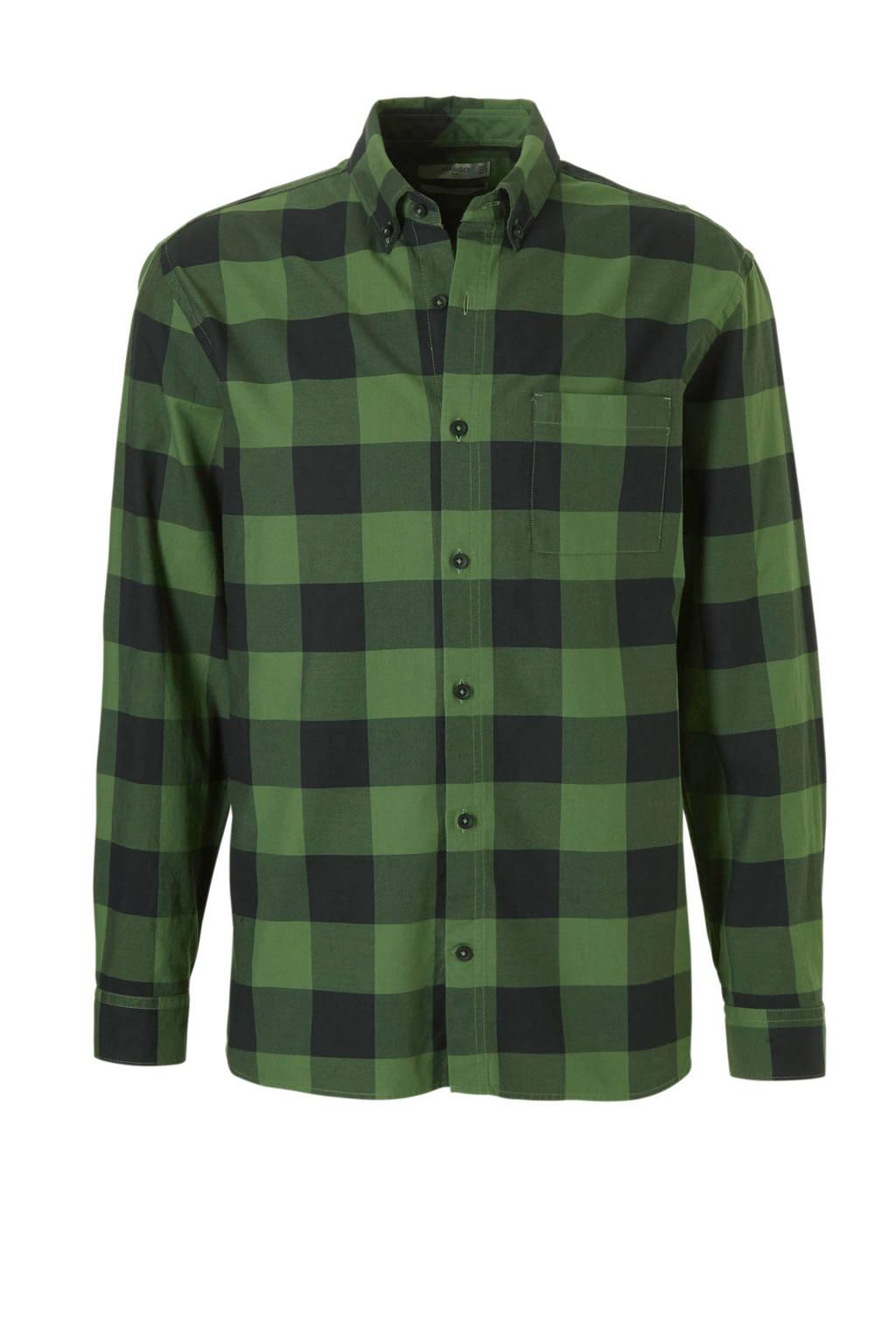 Groen Geruit Overhemd.Mango Man Geruit Overhemd Groen Wehkamp