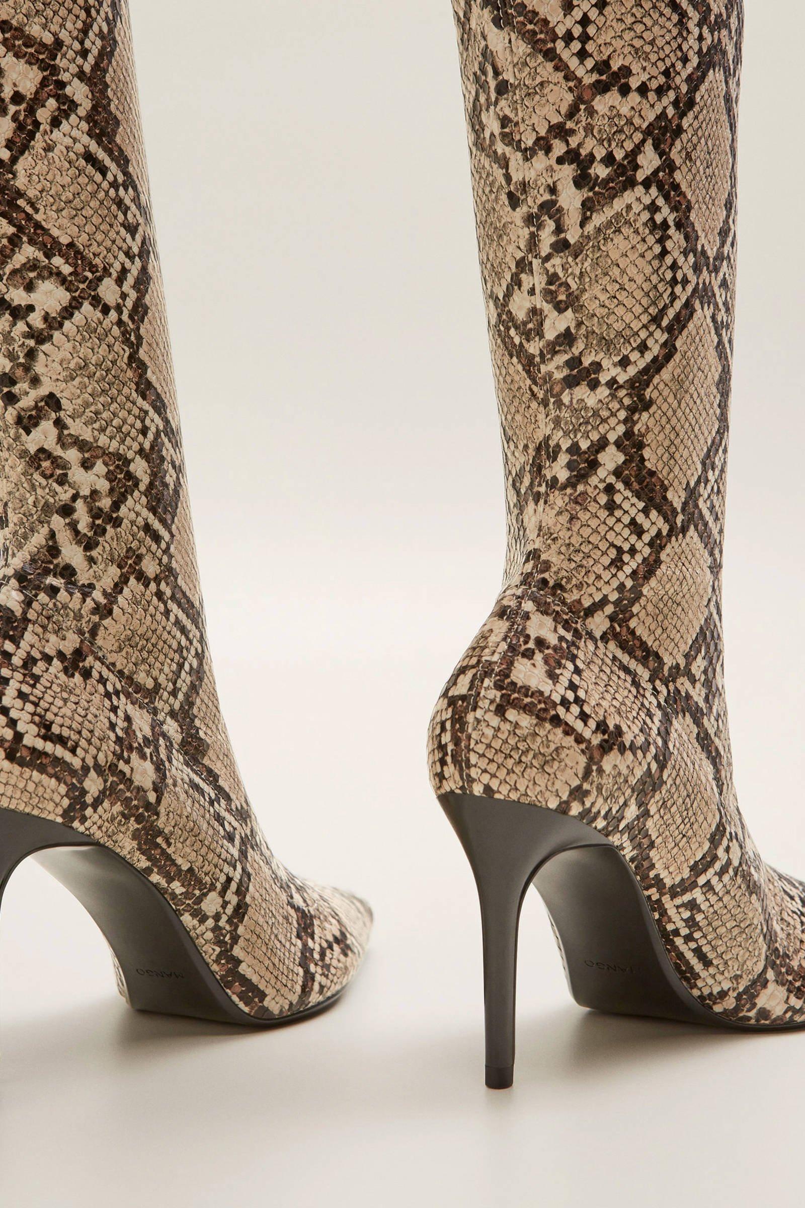 imitatieleren overknee laarzen met slangenprint beige