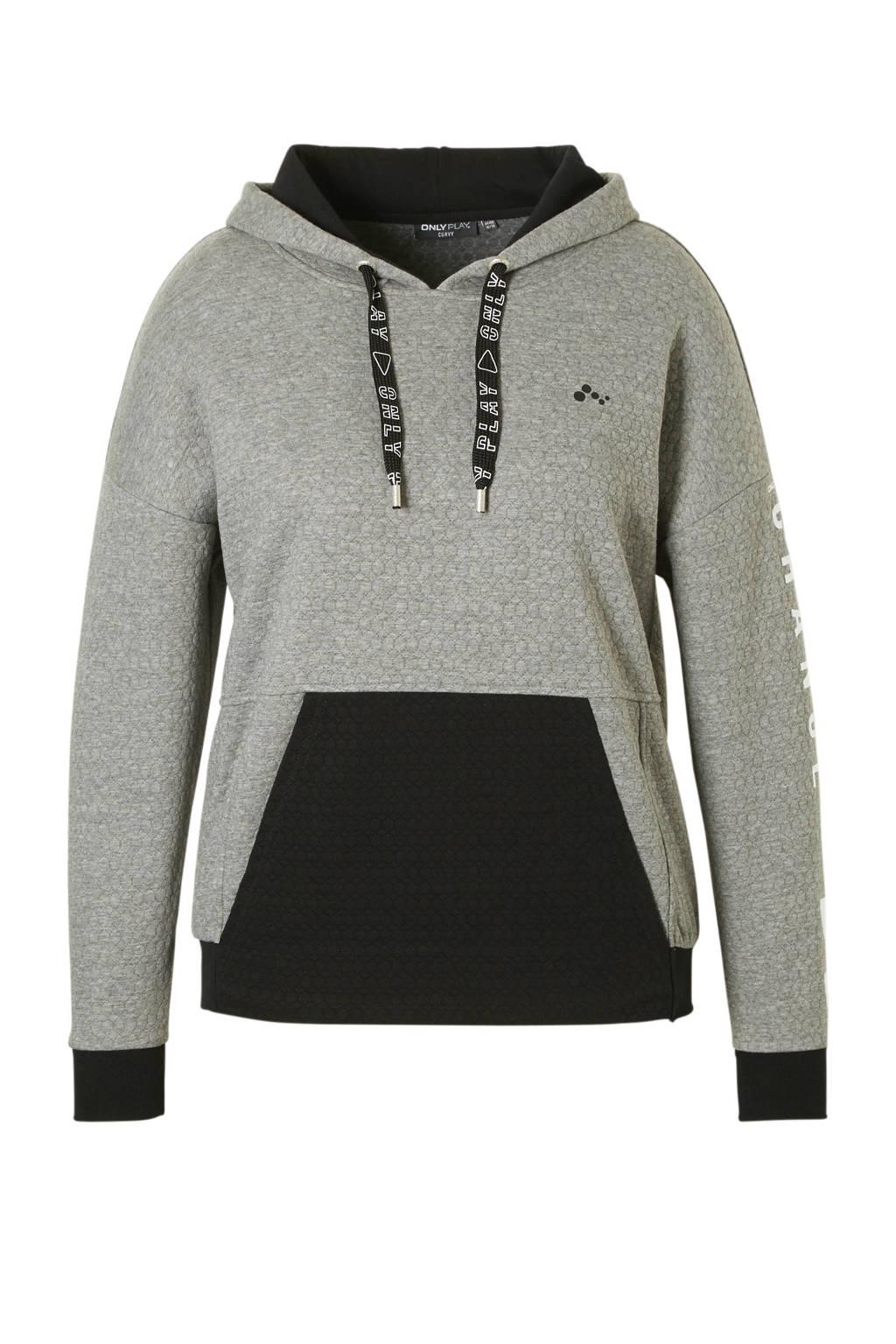 Only Play Curvy sportsweater grijs, Grijs/zwart