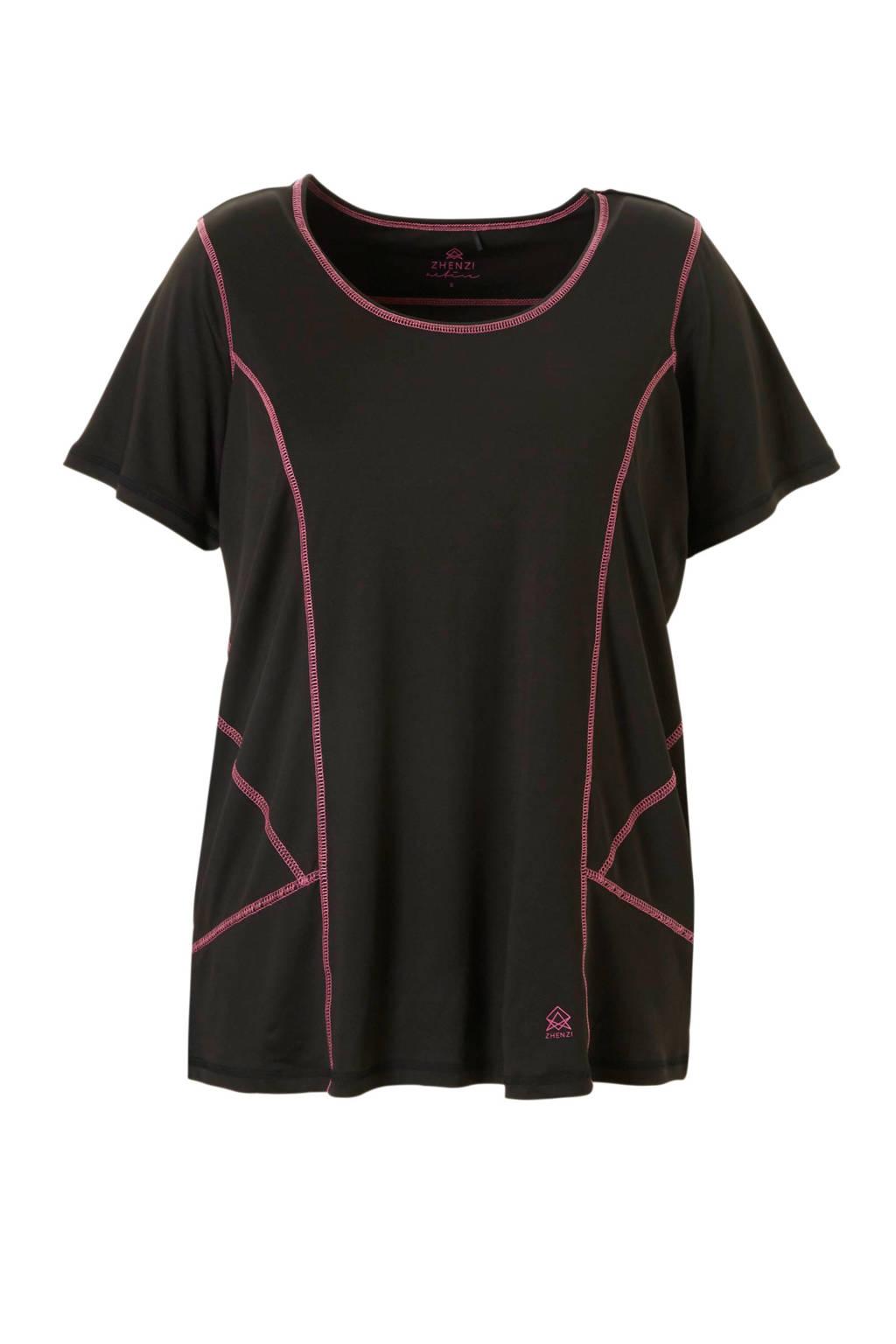 Zhenzi Sport sport t-shirt zwart, Zwart/roze