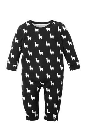 baby boxpak met lama print zwart