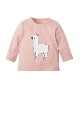 baby longsleeve met lama print roze