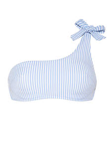 Mix & Match one shoulder bikinitop gestreept blauw