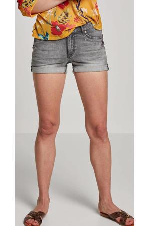 jeans short met slijtage stonewashed licht grijs