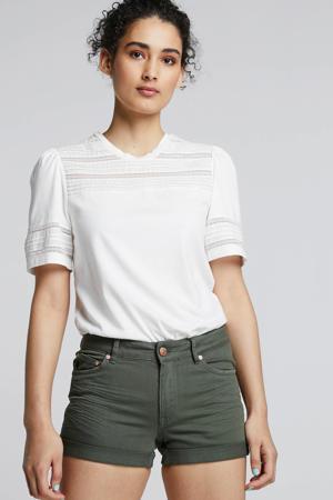 jeans short met slijtage donkergroen