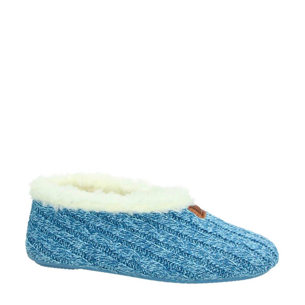 Nelson gebreide pantoffels lichtblauw, Lichtblauw