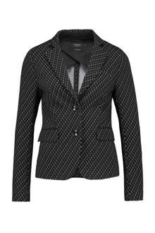 blazer met all over print zwart