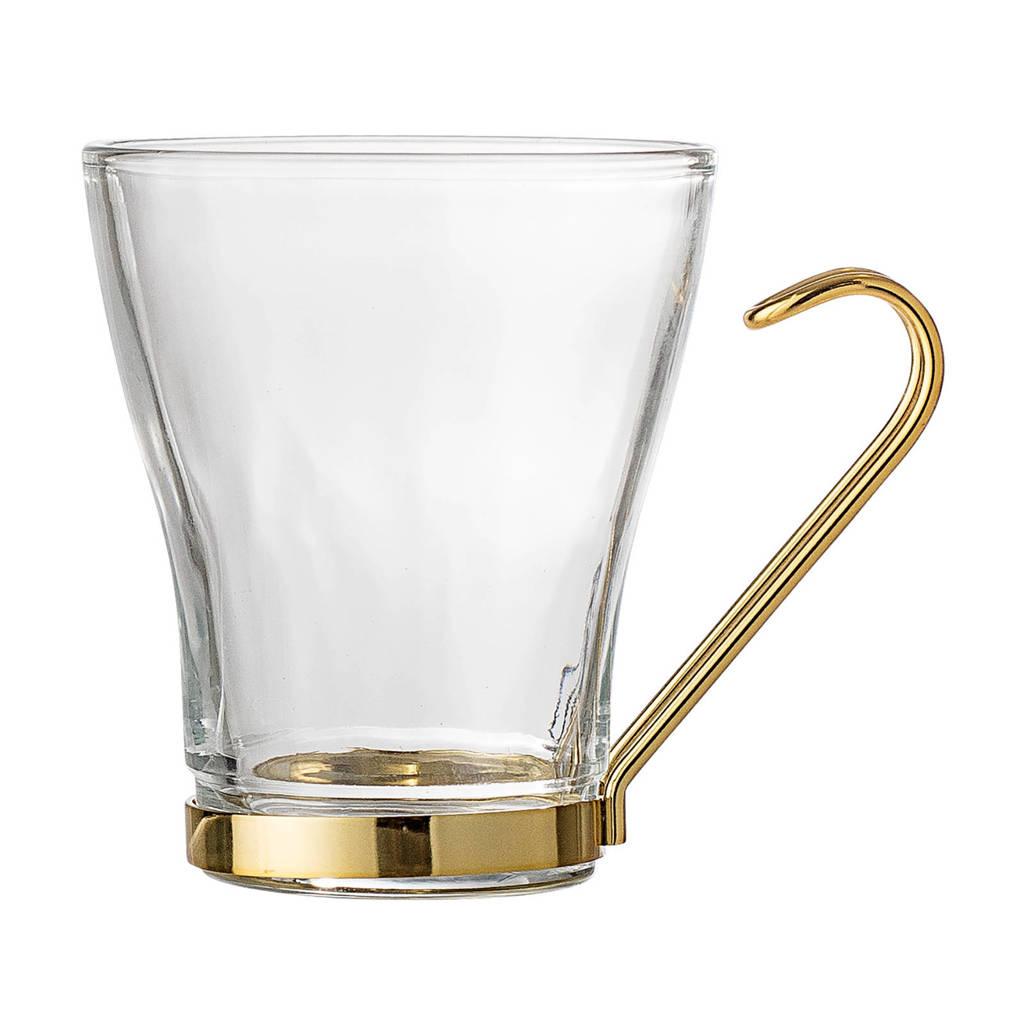 Bloomingville theeglas (Ø8,5 cm), Glas/goud