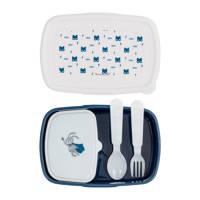 Bloomingville Superhero lunchbox (4-delig), Blauw/wit