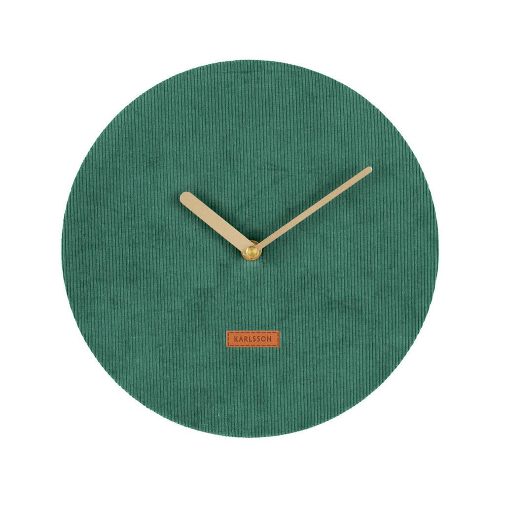 Karlsson Klokken wandklok Corduroy (Ø25 cm), Groen