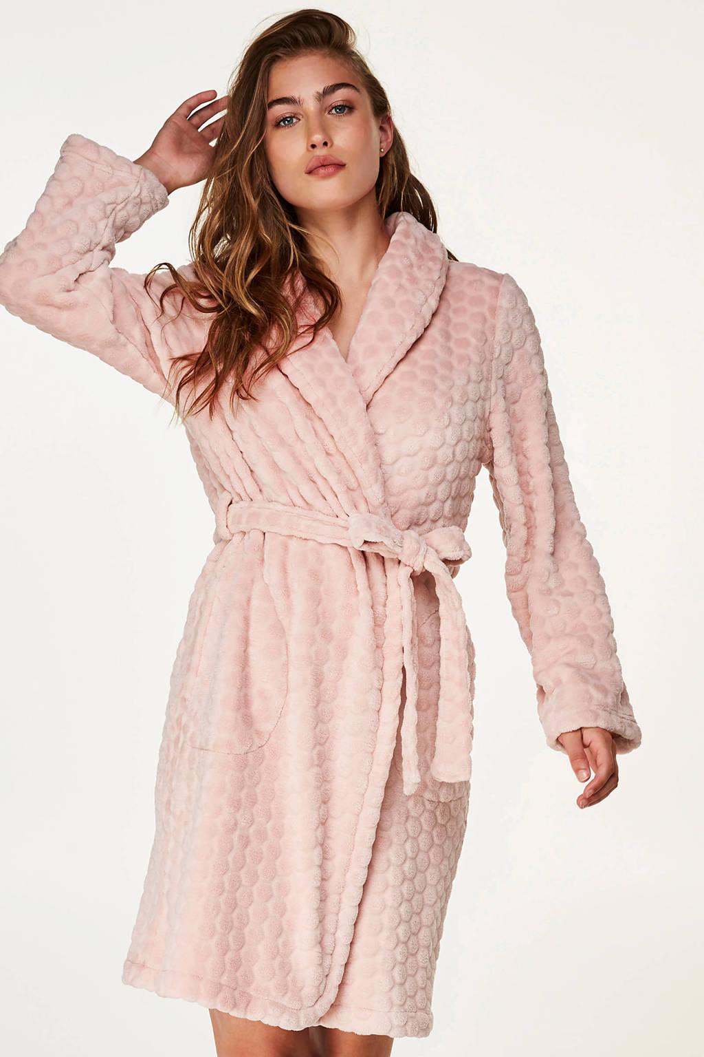 Elegant fleece badjas roze, Roze