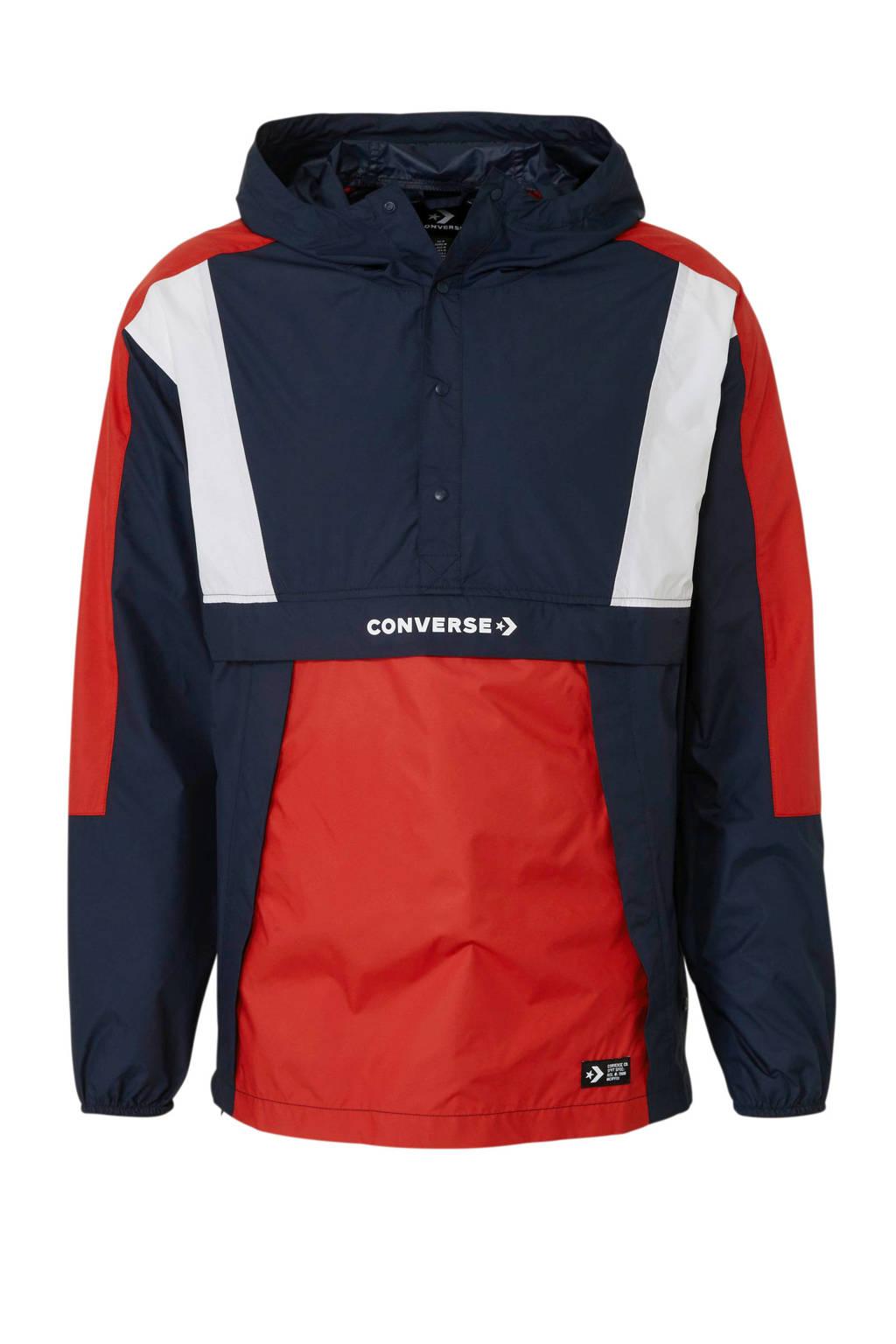 Converse anorak donkerblauw, Donkerblauw/rood/wit
